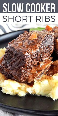 Short Ribs Slow Cooker, Crock Pot Slow Cooker, Slow Cooker Recipes, Gourmet Recipes, Cooking Recipes, Beef Ribs Recipe, Best Slow Cooker Short Ribs Recipe, Rib Roast Slow Cooker Recipe, Braising Ribs Recipe