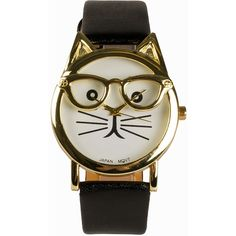 Jfr Cat Watch ($28) ❤ liked on Polyvore featuring jewelry, watches, accessories, black, womens-fashion, black watches, black jewelry, black wrist watch, kohl jewelry and white face watches
