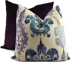 Indigo Purple Gray & Marine Blue Ikat PIllow by ThePillowSpot