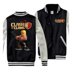 Clash of Clans mens cool sweatshirts Barbarian baseball jackets plus size