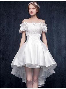 オフショルダーデザインの不規則の綺麗目ドレス パーティードレス ダンスドレス