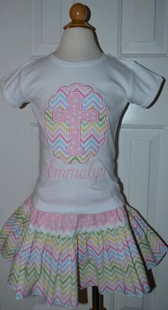 Personalized Easter Cross Applique Shirt or Onesie Girl or Boy on Etsy, $25.00