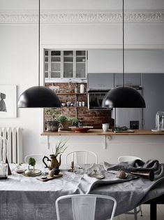 Idea+for+dining+room+with+kitchen+in+scandinavian+style.+