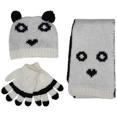 Halloween Fancy Girls Warm Knitted Hat + Scarf & Gloves Cream/Black S-L www.babywearwholesale.com