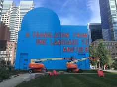 "A Translation from One Language to Another,"" is a piece by New York artist Lawrence Weiner- Boston MA 2015"