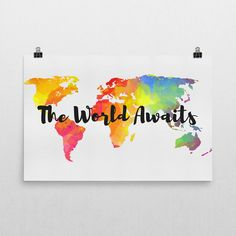 The World Awaits Sign, The World Awaits Art, The World Awaits Print, Travel Gifts, Gifts For Travelers, Travel Quotes, Nursery Art Print