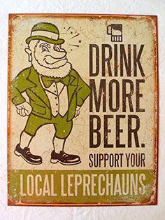 Leprechauns Drink More Beer TIN SIGN irish pub bar decor funny metal poster 1827 Pepsi, Coca Cola, Funny Bar Signs, Pub Signs, Wall Signs, Vintage Tin Signs, Retro Vintage, Vintage Decor, Vintage Style