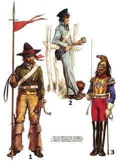 Osprey - Men at Arms 056 - The Mexican - American War 1846 - 48 Mexican Army, Mexican American War, American Civil War, American History, Twilight Princess, Texas Revolution, Mexican Revolution, Wild West Costumes, Native American Models