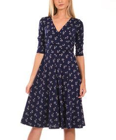 Lbisse Navy & Ivory Leaf Surplice Dress - Plus | zulily