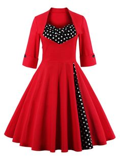 Bowknot Panel Flare Rockabilly Swing Dress - RED 4XL