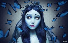 Myself photoshopped/ face morphed into Emily from Tim Burton's corpse bride. Corpse Bride Makeup, Emily Corpse Bride, Corpse Bride Costume, Tim Burton Corpse Bride, Halloween 2015, Halloween Cosplay, Holidays Halloween, Halloween Makeup, Halloween Costumes