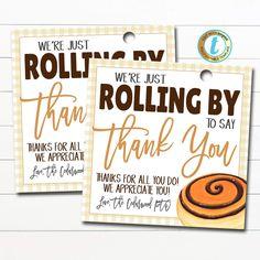 Staff Appreciation Gifts, Teacher Morale, Teacher Treats, Cinnamon Rolls, Gift Tags, Sayings, Gift Ideas, Party Ideas, Hole Punch