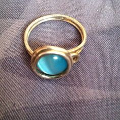 Ring Silver twisted wire ring with blue stone Jewelry Rings