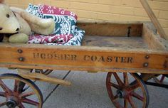 Hoosier Coaster Child's Wooden Wagon Circa:  early 20th C.