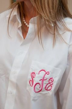 men's oversized button down monogrammed for bride and bridesmaids while they get their hair done!            LOVE this idea!