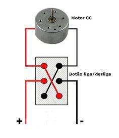 Esquema motor cc chave liga desliga dois sentidos de rotação.