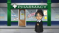 A Warm And Nice Female Missionary At Facade Of A Pharmacy:  A woman with dark brown hair wearing a black hat dark gray long dress covering her entire body a black cloak with white collar smirks while looking modest. Set in outside a merchant selling prescription medicine with green column and a store sign that says pharmacy a white cross on the left side of the word sign several posters and store sign to attract customers are plastered on the glass display of the blue with gray lining…