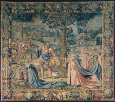 Queen Tomyris Learns that Her Son Has Been Taken Captive by Cyrus  about 1535-1550, Workshop of Jan van der Moyen, Wool warp, wool and silk wefts, 402 x 461 cm