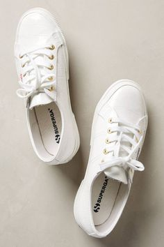 Anthropologie Superga Patent Croc Sneakers, White Patent Leather, Euro 38/US 7.5 #Superga #FashionSneakers