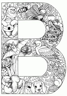Printable Letters Colouring Pages. There is a whole alphabet here.. you could make a really nice collage for your child's bedroom. Gorgeous.