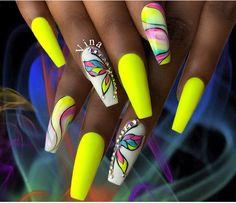 Discover new and inspirational nail art for your short nail designs. Neon Nail Art, Neon Nails, Nail Swag, Fancy Nails, Bling Nails, Gorgeous Nails, Pretty Nails, Jolie Nail Art, Nagel Bling