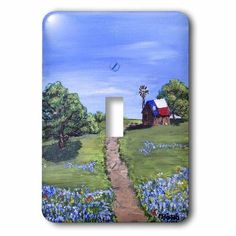 3dRose Dirt road leading to old Texas barn , 2 Plug Outlet Cover