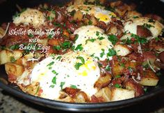 Melissa's Southern Style Kitchen: Skillet Potato Hash with Baked Eggs http://melissassouthernstylekitchen.blogspot.com/2013/02/skillet-potato-hash-with-baked-eggs.html