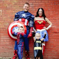 family pic in Super hero costume I think so. Except I know joes not going to wear one ill just but him a batman shirt lol  sc 1 st  Pinterest & Assemble a squad of superheroes with this DIY Halloween family ...