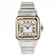 Ladies Cartier Santos Galbee 18k Gold & Stainless Steel Quartz Wrist Watch 1567