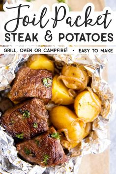 These Garlic Butter Steak and Potato Foil Packets are an easy family dinner recipe for summer. Cook them on the grill/campfire or in the oven – just add a vegetable or salad and your dinner will be ready in a flash! Cooking steak and potatoes together in a foil packet makes dinner on the grill (or the fire) so easy and flavorful. | #dinner #easydinner #recipe #easyrecipes #steak #foilpackets #grilling #camping #campfirecooking #campingfood #campingrecipes #campingtips