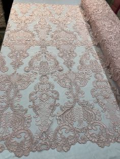 Floral - Pink - Embroided Lace Fabric with Damask Pattens - Beautiful Embroided Flower Fabrics Sold by The Yard