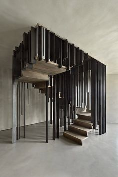 Installed in a private home by Milan-based design and architecture firm Storage Associati, the staircase disappears when viewed from a certain angle. Staircase Storage, Staircase Design, Stair Design, Staircase Ideas, House Staircase, Staircase Makeover, Architecture Design, Stairs Architecture, Islamic Architecture