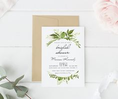 Printed bridal shower invitation Boho Bridal Shower Greenery