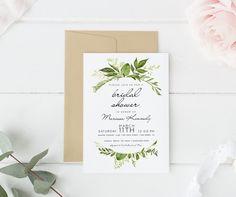 Printed bridal shower invitation Boho Bridal Shower Greenery