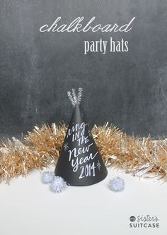 Check out this easy tutorial to make chalkboard party hats - your guests will love customizing their own!