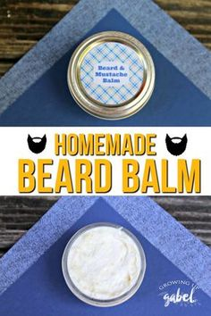 Make your man a homemade moisturizing beard balm to use on his beard or face as an aftershave. Made in just a few minutes with coconut oil, olive oil, beeswax and essential oils that benefit hair and skin.The perfect father's day gift! Diy Beard Oil, Beard Oil And Balm, Beard Balm, Coconut Oil For Beard, Coconut Oil Hair Mask, Beard Butter, Gabel, Homemade Face Masks, Beard Styles