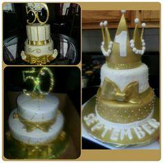 Gold and white milestone cakes