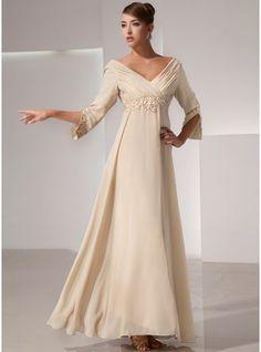 Império Decote V Longos De chiffon Vestido para a mãe da noiva com Pregueado Bordado
