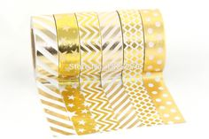 Hot sale! 6X 15mm*10m Gold Foil Gilded Paper Tapes for Christmas Print DIY Deco Masking Japanese Washi Tape Paper Lot