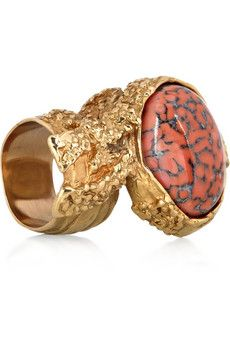 Just so ugly it works. Yves Saint Laurent Coral Glass Ring. $195.00