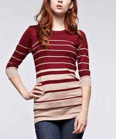 Ruby Rose Burgundy Stripe Three-Quarter Sleeve Tunic | zulily