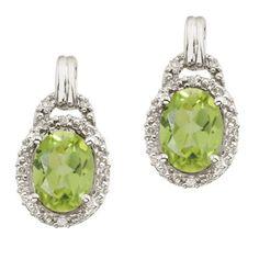 14K White Gold August Birthstone 8x6 Oval Peridot and Diamond Earrings
