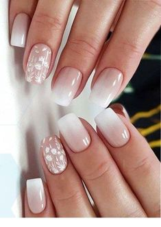 37 perfect ombre nail design to upgrade your style summer nail designs Ombre Nail Designs, Nail Art Designs, Ombre Nail Art, Square Nail Designs, White Nail Designs, Cute Nails, Pretty Nails, Nagellack Design, Bride Nails
