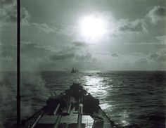 USS Indiana USS Massachusetts and USS Alabama underway seen from USS South Dakota 1945.