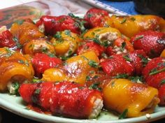involtini di peperoni ripieni al tonno (peppers stuffed with tune) Italian Dishes, Italian Recipes, Pizza Lasagne, Fish Recipes, Appetizer Recipes, Italy Food, Cooking Recipes, Healthy Recipes, Vegetable Dishes