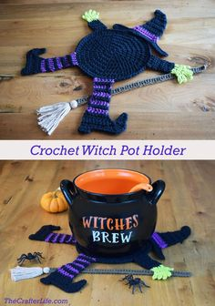 Flattened Witch Pot Holder - The Crafter Life Best Picture For topflappen stricken anleitung For You Crochet Pour Halloween, Moldes Halloween, Halloween Crochet Patterns, Adornos Halloween, Halloween Crafts, Halloween Party, Halloween Knitting, Crochet Crafts, Crochet Toys