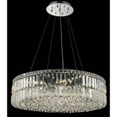 This chandelier features a metal frame with a silver hue that shimmers with crystal accents. Brilliantly showcasing contemporary yet classic appeal, this 12-light fixture will highlight any decor.