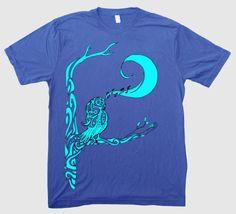 Night Song Unisex Men's Women's Singing Owl Screenprinted T-Shirt