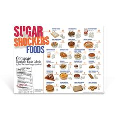The Sugar Shockers® Foods Poster is an eye-opening look into surprisingly sugary foods. From frozen waffles and sugary cereals to macaroni and cheese and fruit-flavored yogurt, foods are shown photographed side by side with their equivalent number of sugar cubes the portion contains. You'll be amazed just how much sugar is found in some common favorite foods. Kids Nutrition, Health And Nutrition, Oat Bran Cereal, Nutrition Poster, Frozen Waffles, How Much Sugar, High School Activities, Sugar Cubes, Science