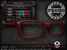 "= REBELLION = ""SAVANT"" SPECS [PROMO] Cheap Shopping, Second Life, Specs, Mesh, Frame, Unisex, Color, Colour, Frames"